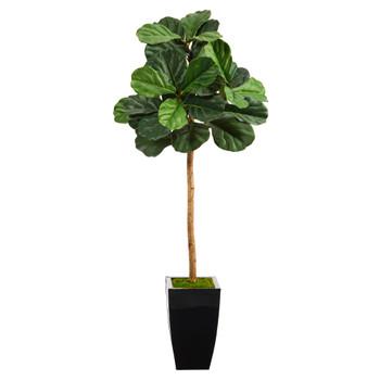50 Fiddle Leaf Artificial Tree in Black Metal Planter - SKU #T2237
