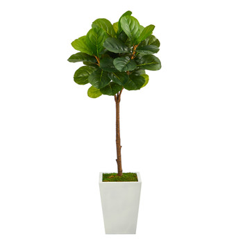 4 Fiddle Leaf Tree in White Metal Planter Real Touch - SKU #T2239