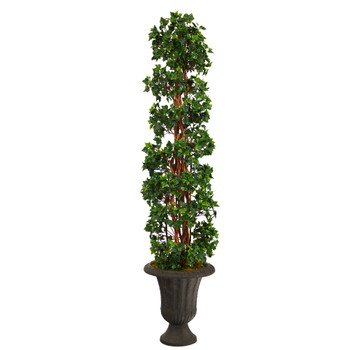 62 English Ivy Topiary Spiral Artificial Tree in Charcoal Urn UV Resistant Indoor/Outdoor - SKU #T2240