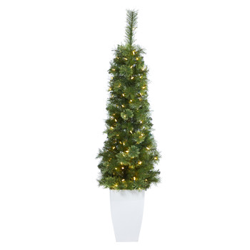 50 Green Pencil Artificial Christmas Tree with 100 Clear Multifunction LED Lights and 140 Bendable Branches in White Metal Planter - SKU #T2245