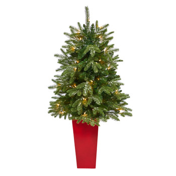 44 Snowed Grand Teton Fir Artificial Christmas Tree with 50 Clear Lights and 111 Bendable Branches in Red Planter - SKU #T2247