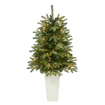 44 Snowed Grand Teton Fir Artificial Christmas Tree with 50 Clear Lights and 111 Bendable Branches in Red Planter - SKU #T2247-WH