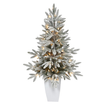 3.5 Flocked Manchester Spruce Artificial Christmas Tree with 50 Lights and 133 Bendable Branches in Metal Planter - SKU #T2251-WH