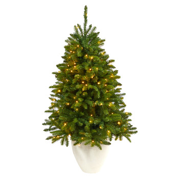 50 Sierra Spruce Natural Look Artificial Christmas Tree with 150 Clear LED Lights in White Planter - SKU #T2253