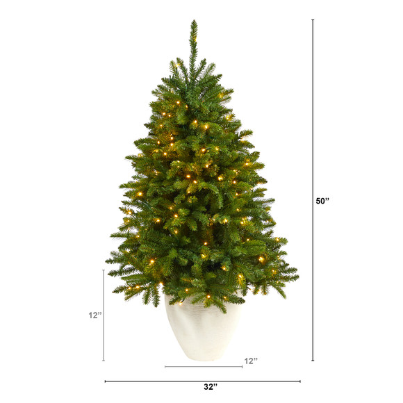 50 Sierra Spruce Natural Look Artificial Christmas Tree with 150 Clear LED Lights in White Planter - SKU #T2253 - 1