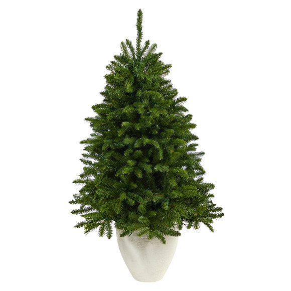 50 Sierra Spruce Natural Look Artificial Christmas Tree with 150 Clear LED Lights in White Planter - SKU #T2253 - 2