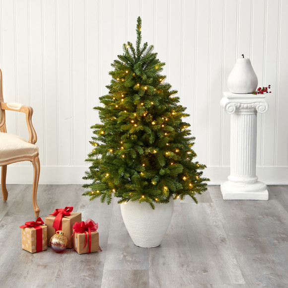 50 Sierra Spruce Natural Look Artificial Christmas Tree with 150 Clear LED Lights in White Planter - SKU #T2253 - 6
