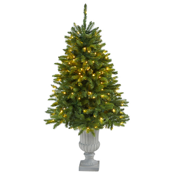 4.5 Sierra Spruce Natural Look Artificial Christmas Tree with 150 Clear LED Lights in Decorative Urn - SKU #T2254