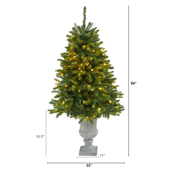 4.5 Sierra Spruce Natural Look Artificial Christmas Tree with 150 Clear LED Lights in Decorative Urn - SKU #T2254 - 1
