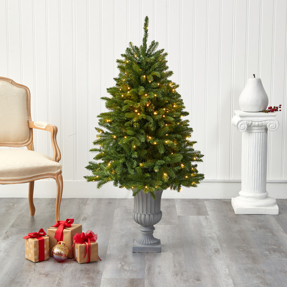 4.5 Sierra Spruce Natural Look Artificial Christmas Tree with 150 Clear LED Lights in Decorative Urn - SKU #T2254 - 6