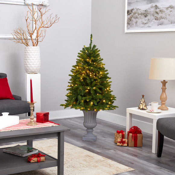 4.5 Sierra Spruce Natural Look Artificial Christmas Tree with 150 Clear LED Lights in Decorative Urn - SKU #T2254 - 7