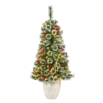 50 Frosted Swiss Pine Artificial Christmas Tree with 100 Clear LED Lights and Berries in White Planter - SKU #T2255
