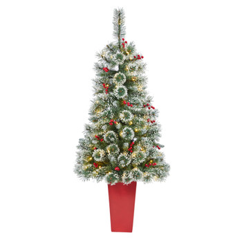 52 Frosted Swiss Pine Artificial Christmas Tree with 100 Clear LED Lights and Berries in Red Tower Planter - SKU #T2256