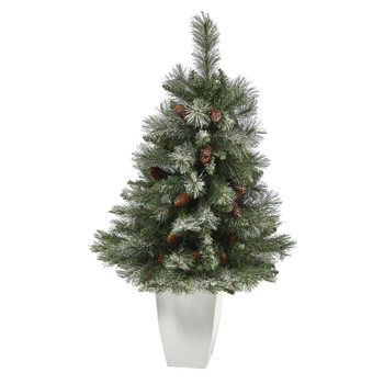 3.5 Snowed French Alps Mountain Pine Artificial Christmas Tree with 135 Bendable Branches and Pine Cones in White Metal Planter - SKU #T2258