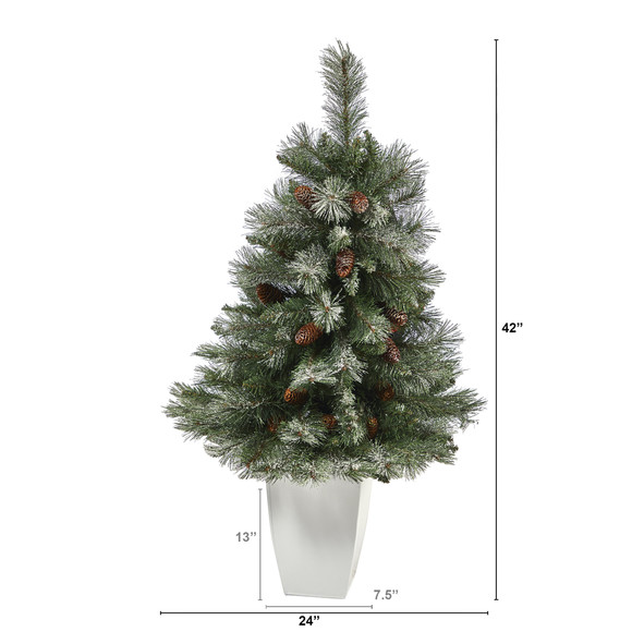 3.5 Snowed French Alps Mountain Pine Artificial Christmas Tree with 135 Bendable Branches and Pine Cones in White Metal Planter - SKU #T2258 - 1