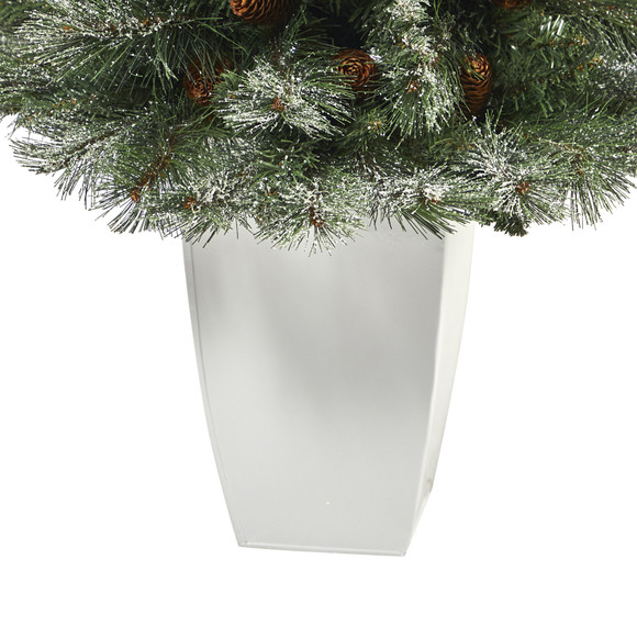 3.5 Snowed French Alps Mountain Pine Artificial Christmas Tree with 135 Bendable Branches and Pine Cones in White Metal Planter - SKU #T2258 - 3