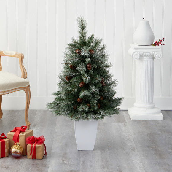 3.5 Snowed French Alps Mountain Pine Artificial Christmas Tree with 135 Bendable Branches and Pine Cones in White Metal Planter - SKU #T2258 - 4