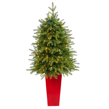 57 Vancouver Fir Natural Look Artificial Christmas Tree with 250 Clear LED Lights and 814 Bendable Branches in Red Tower Planter - SKU #T2262