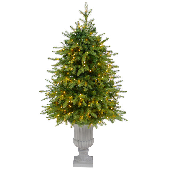 4.5 Vancouver Fir Natural Look Artificial Christmas Tree with 250 Clear LED Lights and 814 Bendable Branches in Decorative Planter - SKU #T2263