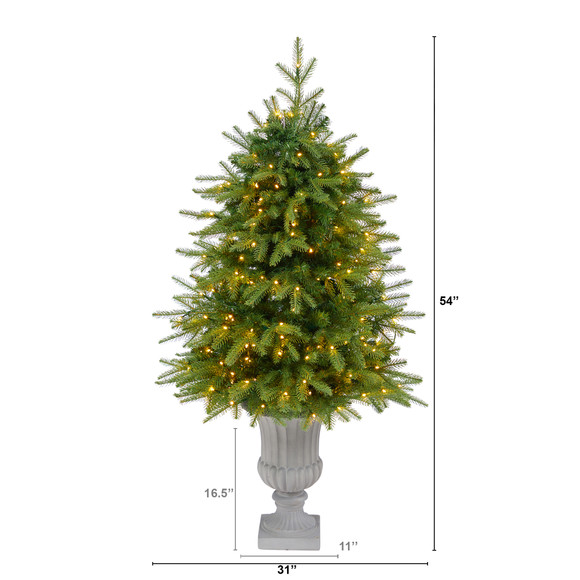 4.5 Vancouver Fir Natural Look Artificial Christmas Tree with 250 Clear LED Lights and 814 Bendable Branches in Decorative Planter - SKU #T2263 - 1