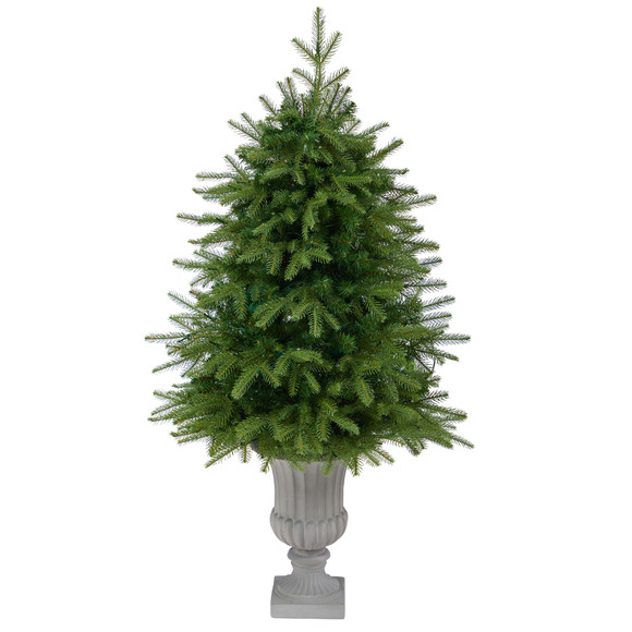 4.5 Vancouver Fir Natural Look Artificial Christmas Tree with 250 Clear LED Lights and 814 Bendable Branches in Decorative Planter - SKU #T2263 - 2