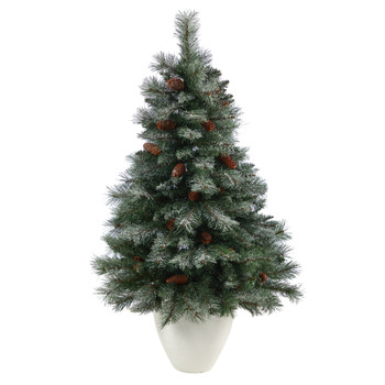 4 Snowed French Alps Mountain Pine Artificial Christmas Tree with 237 Bendable Branches and Pine Cones in White Planter - SKU #T2264
