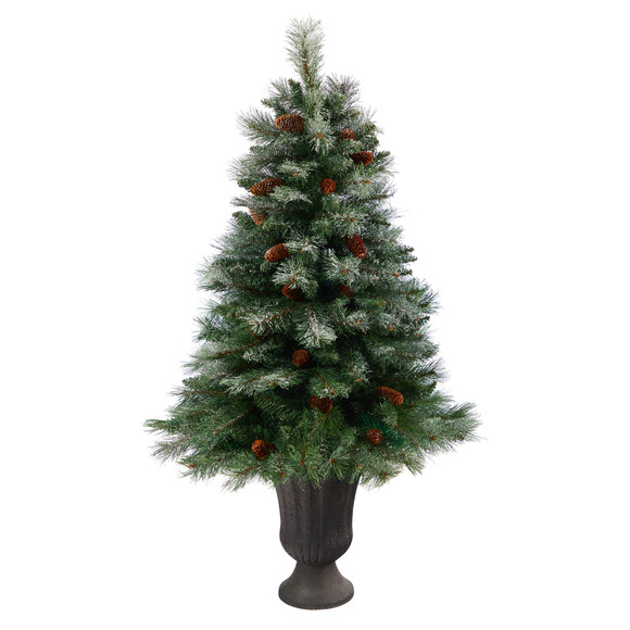 50 Snowed French Alps Mountain Pine Artificial Christmas Tree with 237 Bendable Branches and Pine Cones in Charcoal Planter - SKU #T2265