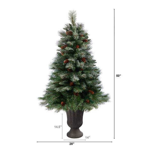 50 Snowed French Alps Mountain Pine Artificial Christmas Tree with 237 Bendable Branches and Pine Cones in Charcoal Planter - SKU #T2265 - 1