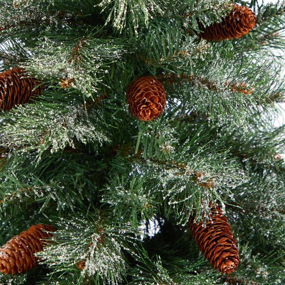 50 Snowed French Alps Mountain Pine Artificial Christmas Tree with 237 Bendable Branches and Pine Cones in Charcoal Planter - SKU #T2265 - 2