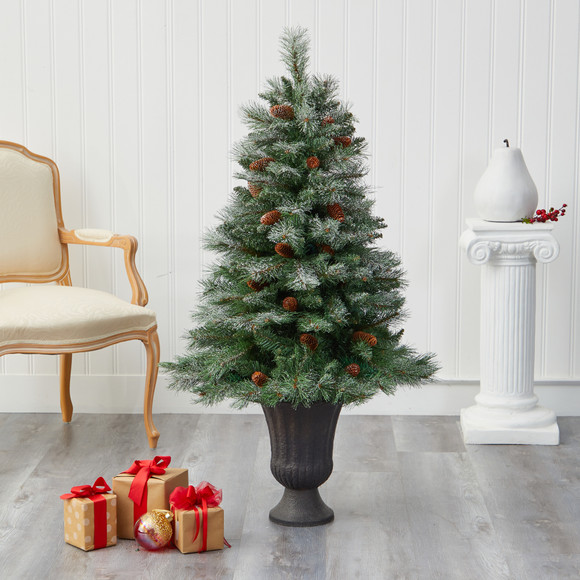 50 Snowed French Alps Mountain Pine Artificial Christmas Tree with 237 Bendable Branches and Pine Cones in Charcoal Planter - SKU #T2265 - 4