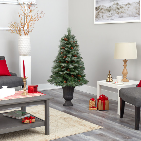50 Snowed French Alps Mountain Pine Artificial Christmas Tree with 237 Bendable Branches and Pine Cones in Charcoal Planter - SKU #T2265 - 5