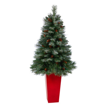 55 Snowed French Alps Mountain Pine Artificial Christmas Tree with 237 Bendable Branches and Pine Cones in Red Tower Planter - SKU #T2266