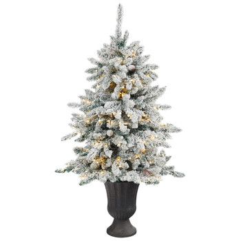 4.5 Flocked Livingston Fir Artificial Christmas Tree with Pine Cones and 150 Clear Warm LED Lights in Charcoal Urn - SKU #T2271
