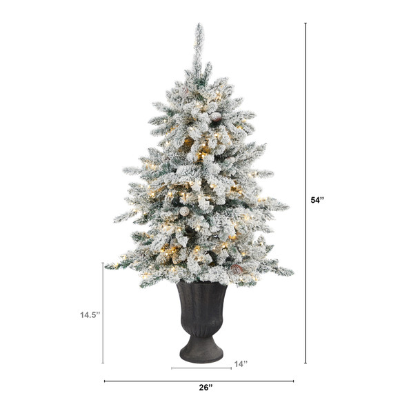 4.5 Flocked Livingston Fir Artificial Christmas Tree with Pine Cones and 150 Clear Warm LED Lights in Charcoal Urn - SKU #T2271 - 1