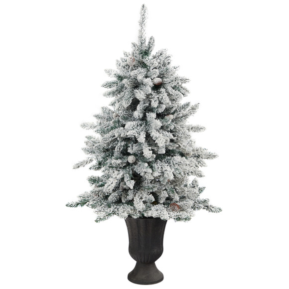 4.5 Flocked Livingston Fir Artificial Christmas Tree with Pine Cones and 150 Clear Warm LED Lights in Charcoal Urn - SKU #T2271 - 2