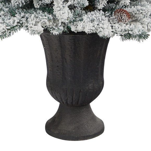 4.5 Flocked Livingston Fir Artificial Christmas Tree with Pine Cones and 150 Clear Warm LED Lights in Charcoal Urn - SKU #T2271 - 5