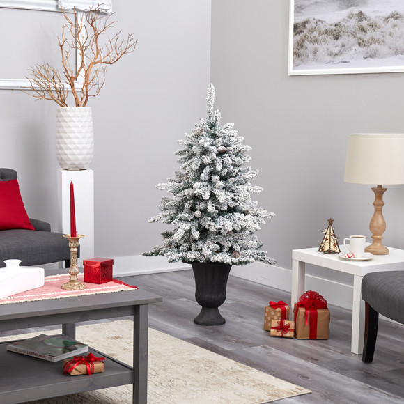 4.5 Flocked Livingston Fir Artificial Christmas Tree with Pine Cones and 150 Clear Warm LED Lights in Charcoal Urn - SKU #T2271 - 8