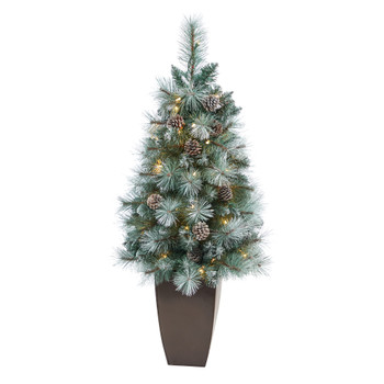 3.5 Frosted Tip British Columbia Mountain Pine Artificial Christmas Tree with 50 Clear Lights Pine Cones and 112 Bendable Branches in Metal Planter - SKU #T2274