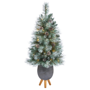 3.5 Frosted Tip British Columbia Mountain Pine Artificial Christmas Tree with 50 Clear Lights Pine Cones and 112 Bendable Branches in Metal Planter in Gray Planter with Stand - SKU #T2275