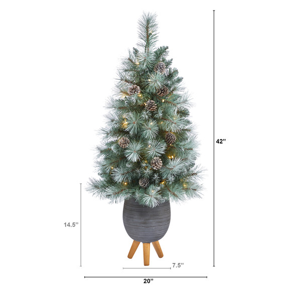 3.5 Frosted Tip British Columbia Mountain Pine Artificial Christmas Tree with 50 Clear Lights Pine Cones and 112 Bendable Branches in Metal Planter in Gray Planter with Stand - SKU #T2275 - 1