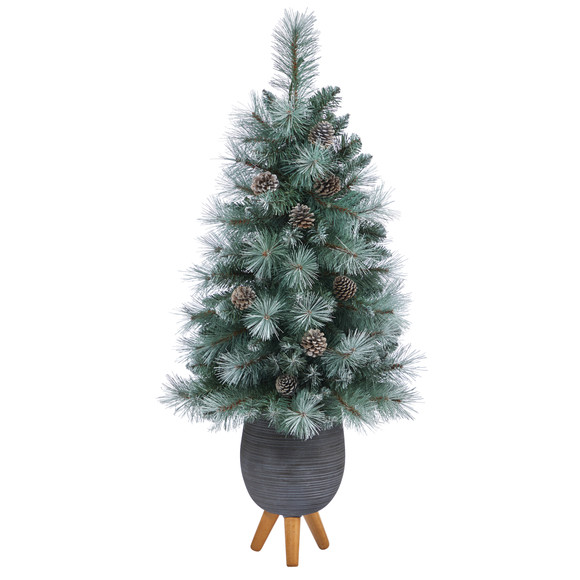 3.5 Frosted Tip British Columbia Mountain Pine Artificial Christmas Tree with 50 Clear Lights Pine Cones and 112 Bendable Branches in Metal Planter in Gray Planter with Stand - SKU #T2275 - 2