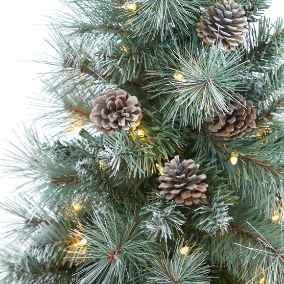 3.5 Frosted Tip British Columbia Mountain Pine Artificial Christmas Tree with 50 Clear Lights Pine Cones and 112 Bendable Branches in Metal Planter in Gray Planter with Stand - SKU #T2275 - 3