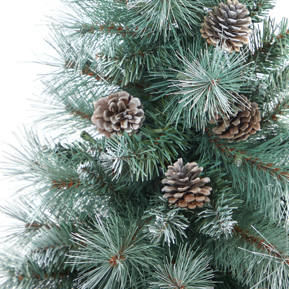 3.5 Frosted Tip British Columbia Mountain Pine Artificial Christmas Tree with 50 Clear Lights Pine Cones and 112 Bendable Branches in Metal Planter in Gray Planter with Stand - SKU #T2275 - 4