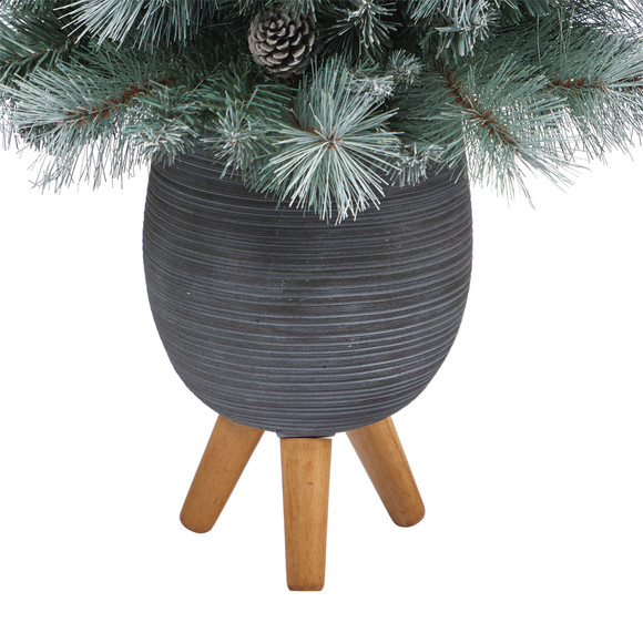 3.5 Frosted Tip British Columbia Mountain Pine Artificial Christmas Tree with 50 Clear Lights Pine Cones and 112 Bendable Branches in Metal Planter in Gray Planter with Stand - SKU #T2275 - 5