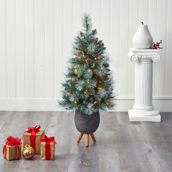 3.5 Frosted Tip British Columbia Mountain Pine Artificial Christmas Tree with 50 Clear Lights Pine Cones and 112 Bendable Branches in Metal Planter in Gray Planter with Stand - SKU #T2275 - 6