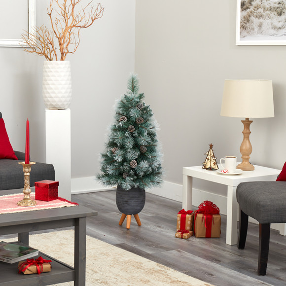 3.5 Frosted Tip British Columbia Mountain Pine Artificial Christmas Tree with 50 Clear Lights Pine Cones and 112 Bendable Branches in Metal Planter in Gray Planter with Stand - SKU #T2275 - 8