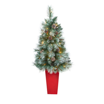 44 Frosted Tip British Columbia Mountain Pine Artificial Christmas Tree with 50 Clear Lights Pine Cones and 112 Bendable Branches in Red Tower Planter - SKU #T2276