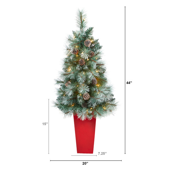 44 Frosted Tip British Columbia Mountain Pine Artificial Christmas Tree with 50 Clear Lights Pine Cones and 112 Bendable Branches in Red Tower Planter - SKU #T2276 - 1