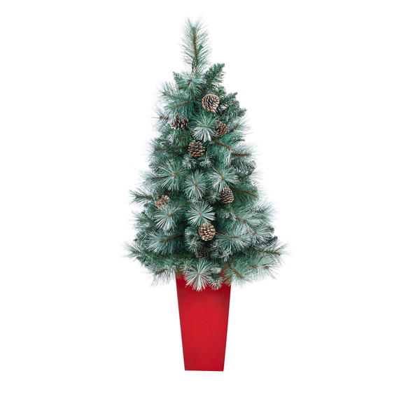 44 Frosted Tip British Columbia Mountain Pine Artificial Christmas Tree with 50 Clear Lights Pine Cones and 112 Bendable Branches in Red Tower Planter - SKU #T2276 - 2