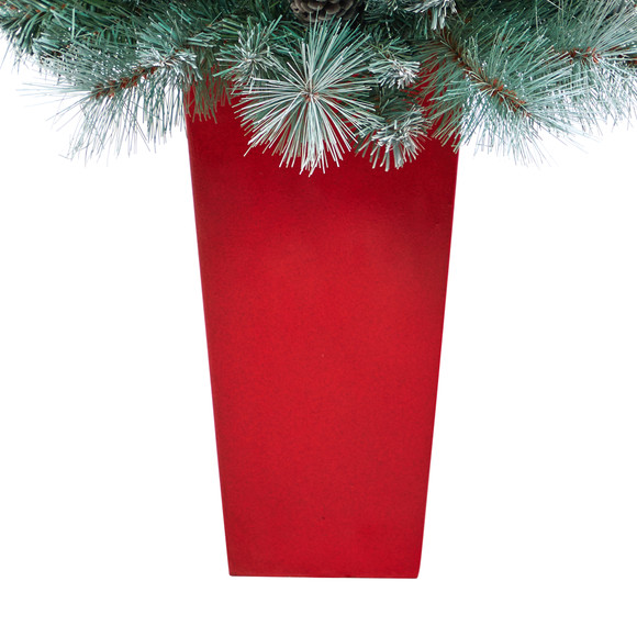 44 Frosted Tip British Columbia Mountain Pine Artificial Christmas Tree with 50 Clear Lights Pine Cones and 112 Bendable Branches in Red Tower Planter - SKU #T2276 - 5